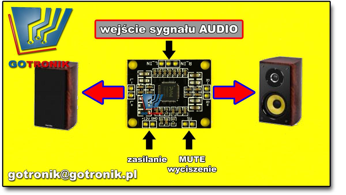 wmacniacz mocy audio stereo 2 x 15 klasa D PAM8610
