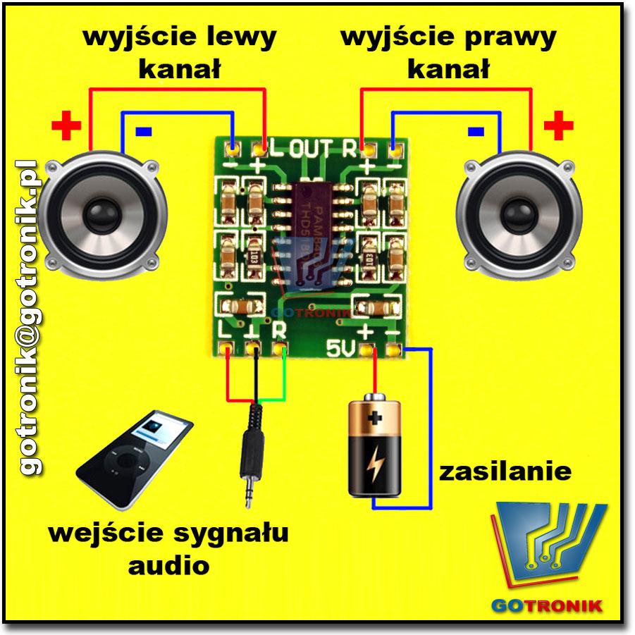 wmacniacz mocy audio stereo 2 x 3W klasa D PAM8403