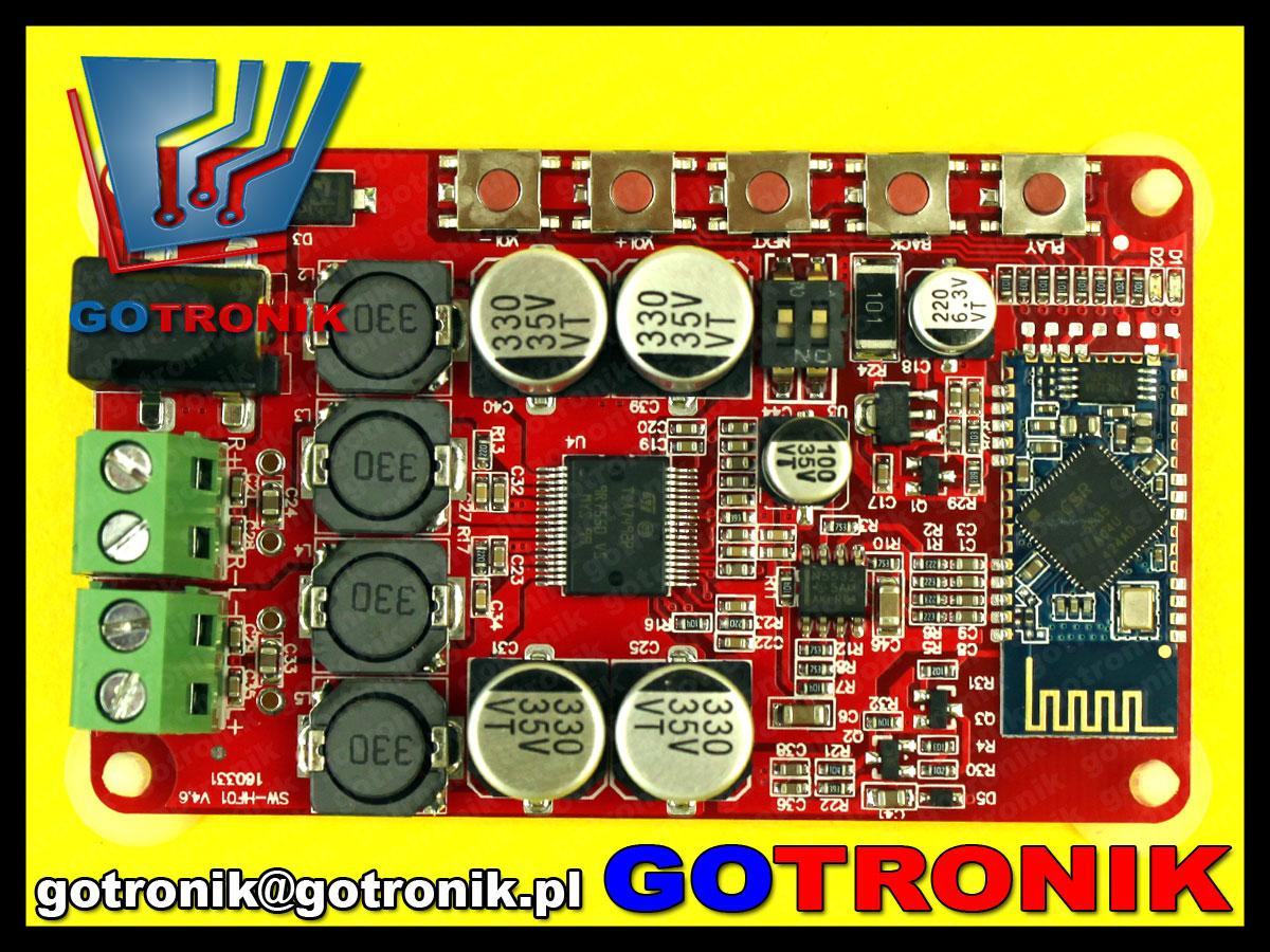 wmacniacz mocy audio stereo 2 x 50W TDA7492p bluetooth