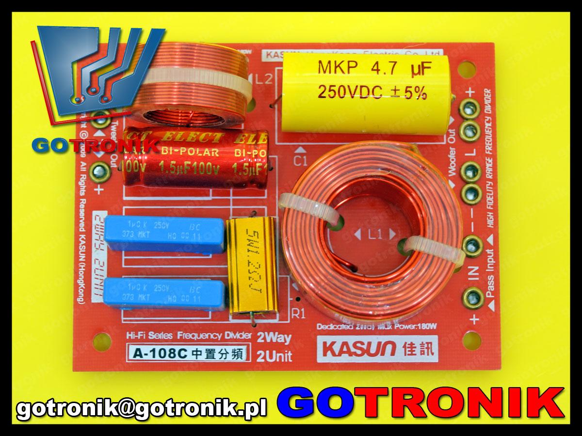 2 dwudrożna zwrotnica głośnikowa Kasun A-108C 3300Hz 130W 4ohm 8om 12db/oct