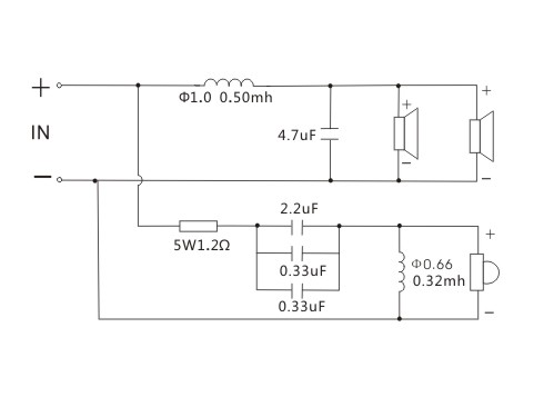 schemat ideowy zwrotnicy głośnikowej 2 dwudrożna zwrotnica głośnikowa Kasun A-108C 3300Hz 130W 4ohm 8om 12db/oct