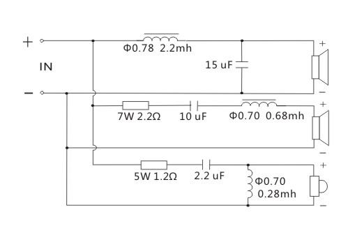 schemat ideowy zwrotnicy głośnikowej 3 trójdrożna zwrotnica głośnikowa Kasun OK-3801C 1000hz 4800Hz 180W 8ohm 8om