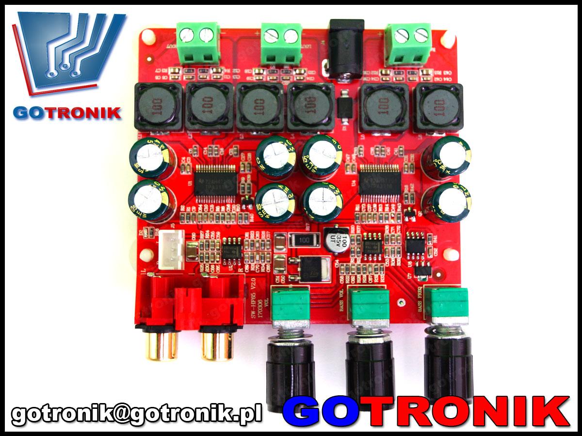 SW-HF65 Sanwu, wzmacniacz stereo, wzmacniacz do subwoofera, aktywny filtr dolnoprzepustowy, wzmaczniacz 2.1, wzmacniacz tpa3118, wzmacniacz audio akustyczny, bte-339,