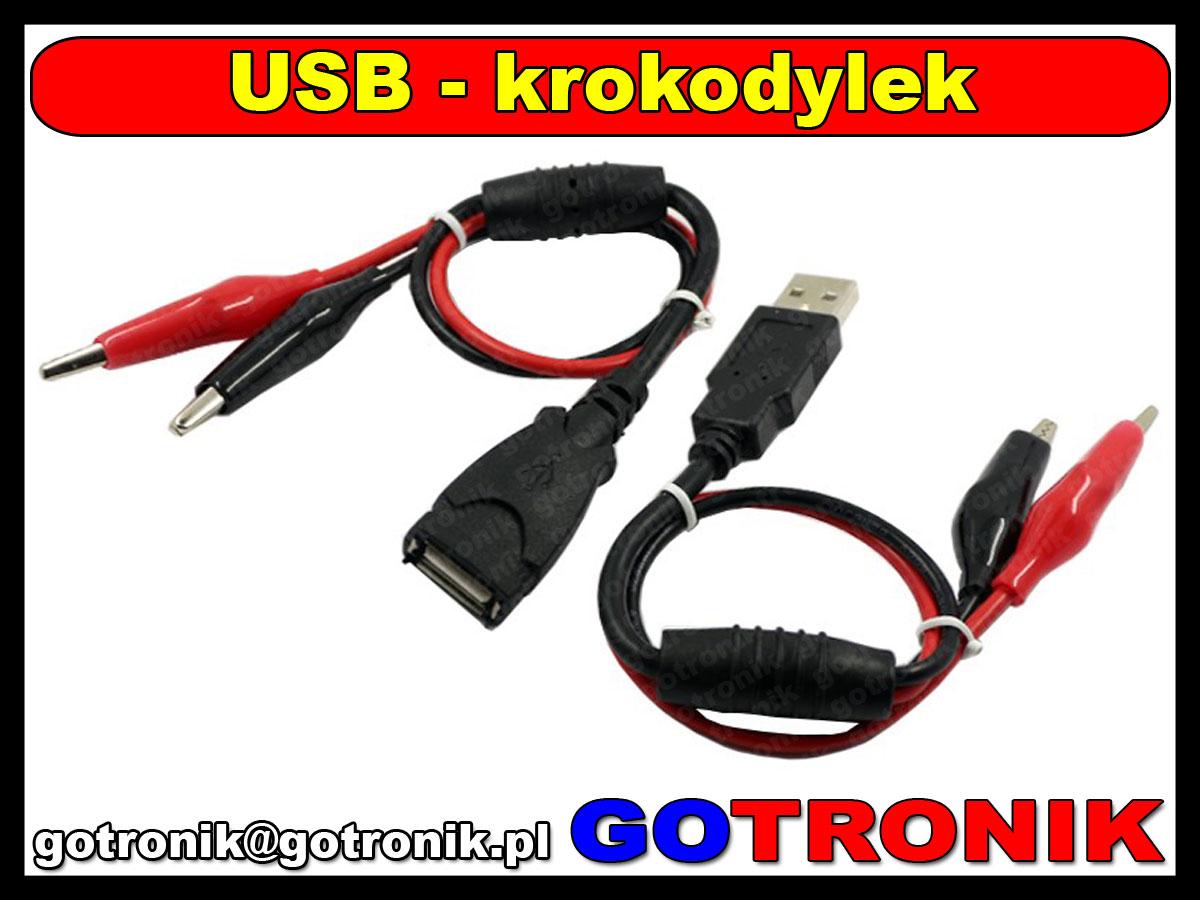 BTE-361 przewód adapter przejściówka USB A na krokodyle 3A 5A wzmocnione BTE361