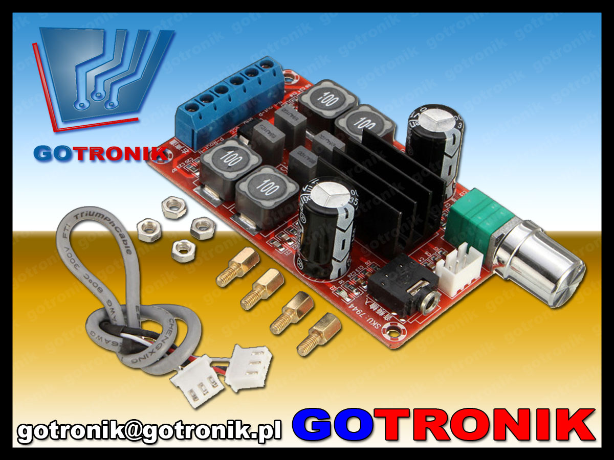 moduł wzmacniacz mocy audio klasa D TPA3116D2 2x50W 5V 12V 24V BTE-382