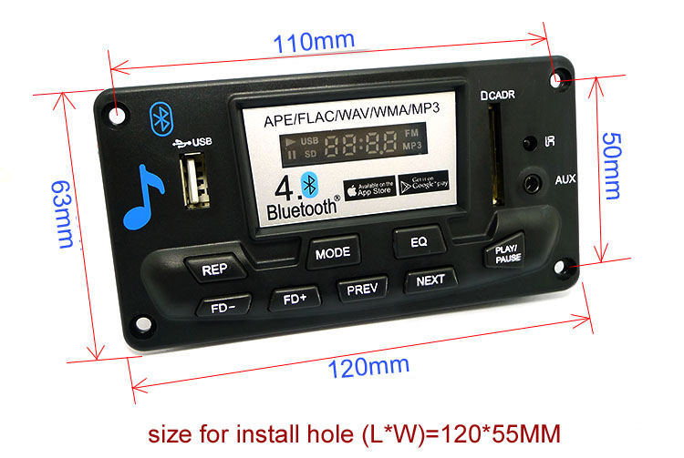 Odtwarzacz MP3 FLAC WAV WMA APE Bluetooth USB SD BTE-402