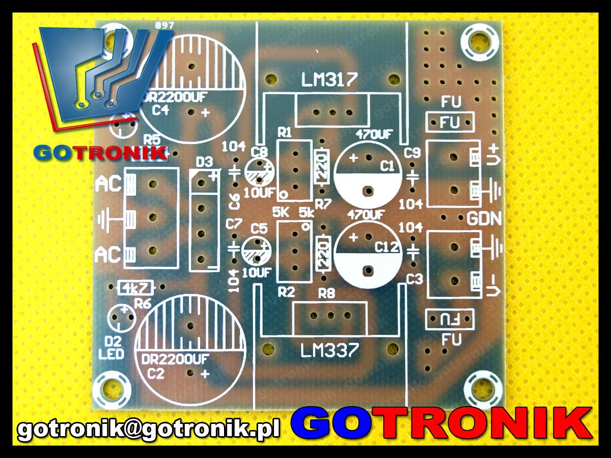 BTE-427 KIT DIY modu zasilacz symetryczny LM317 LM337 regulowany zestaw do samodzielnego montażu