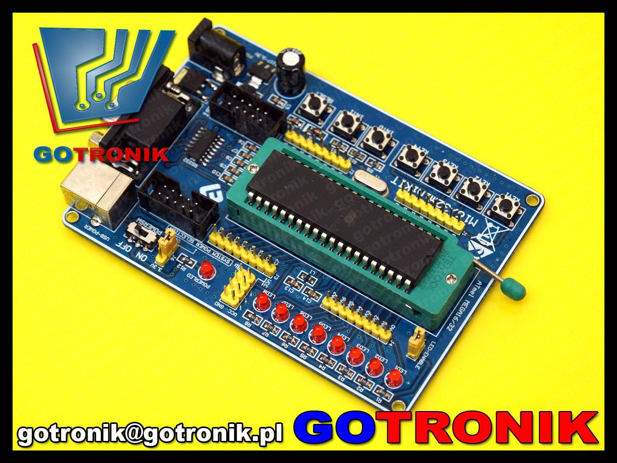 BTE-496 moduł startowy uruchomieniowy naukowy AVR atmega32a ATmega16, ATmega32, ATmega64, ATmega164, ATmega324, ATmega644, ATmega1284 BTE496
