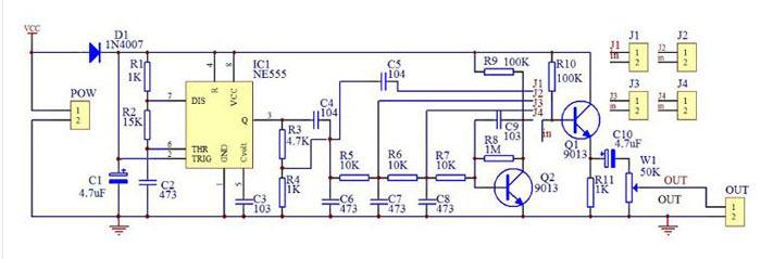 NE555 prosty generator funkcyjny przebiegów sinusoida, prostokąt, trójkąt, piła, schemat zestaw do samodzielnego montażu KIT DIY BTE-530