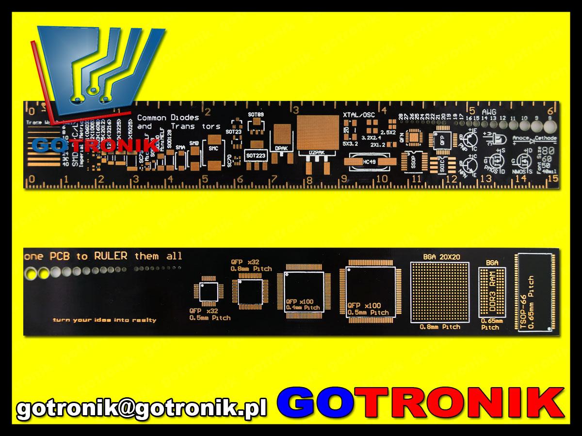 BTE-544 Linijka 15cm PCB czarna  w formie płytki drukowanej