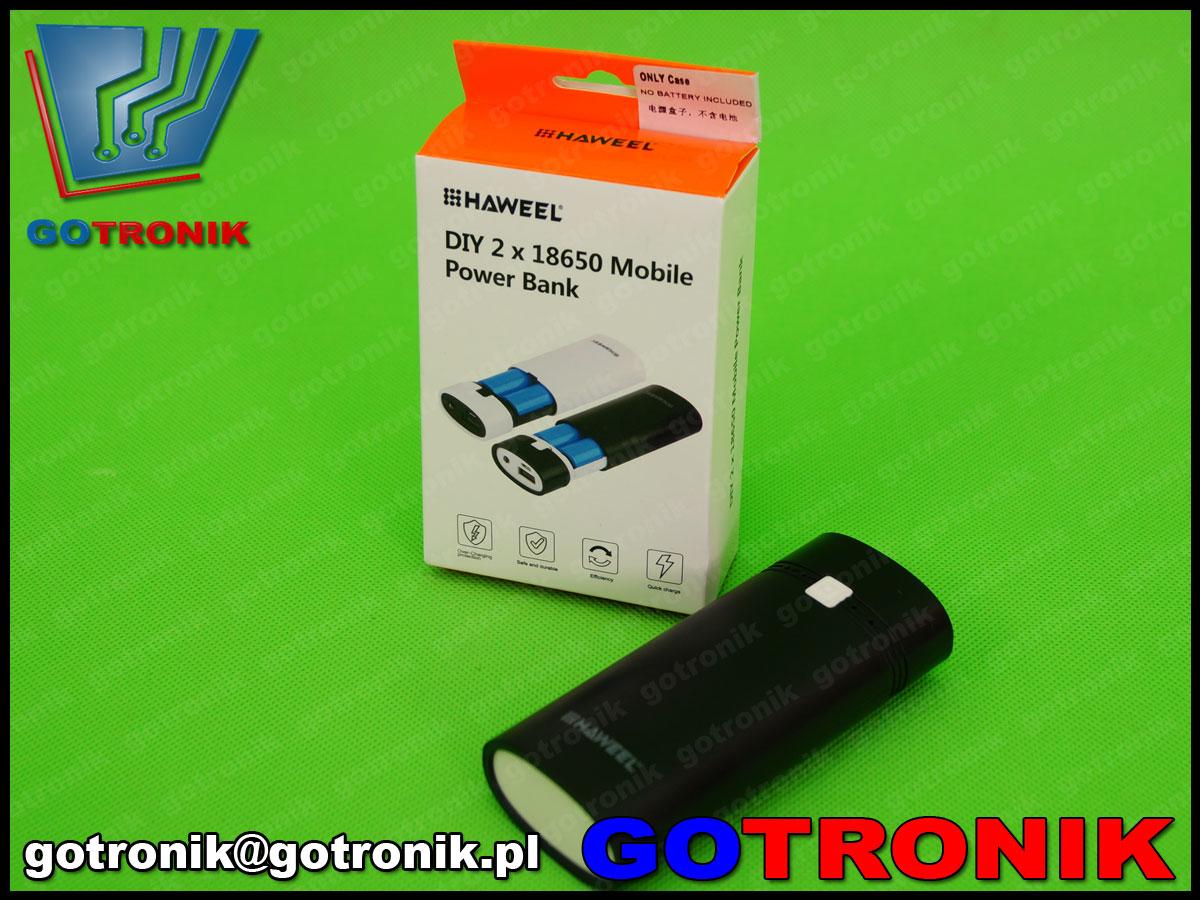 haweel, 2 x 18650 Li-ion, obudowa powerbank, usb, ładowarka, power bank, przenośny akumulator, 5v,