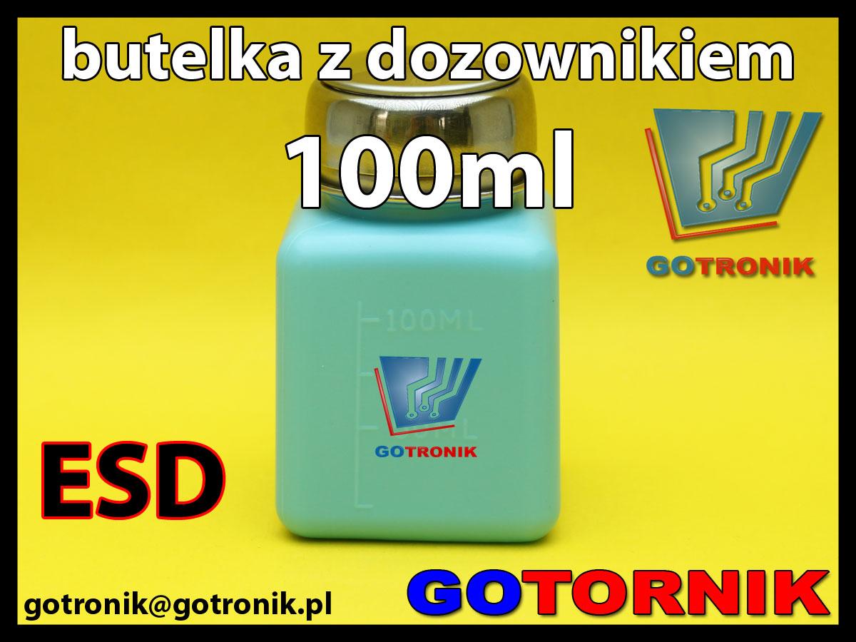 Butelka antystatyczna ESD z dozownikiem 100ml do izopropanolu, alkoholu