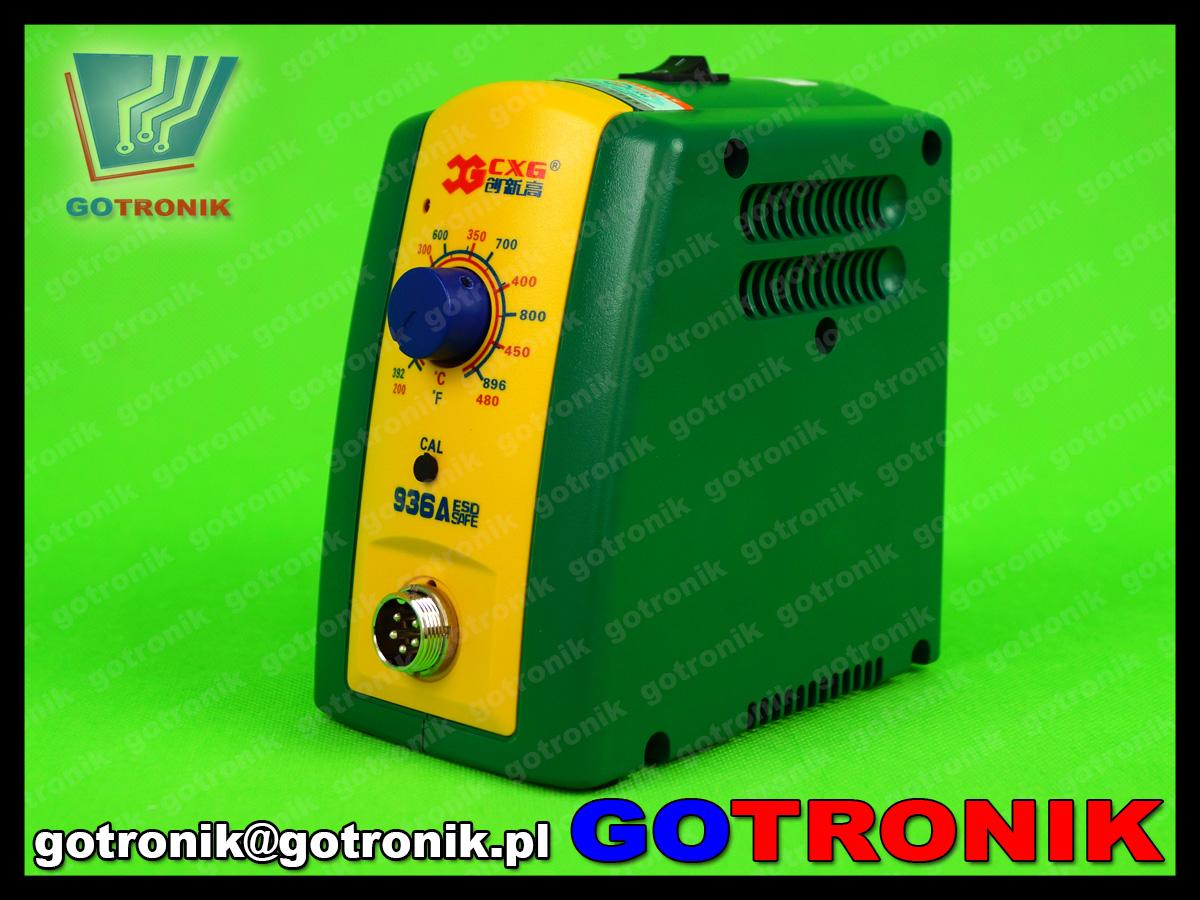 stacja lutownicza 936A CXG 60W do lutowania z ceramiczną grzałką 480°C regulacją temperatury ESD wymienne groty