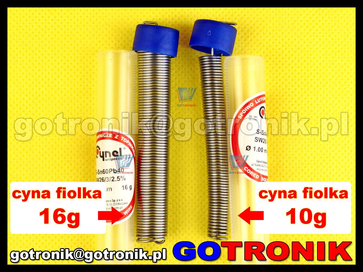 Cyna fiolka 16g 1,00mm 1mm Sn60Pb40 z topnikiem SW26 do lutowania