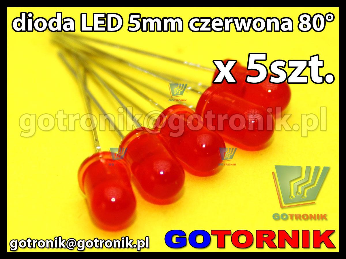 dioda LED 5mm czerwona 80° x5szt.