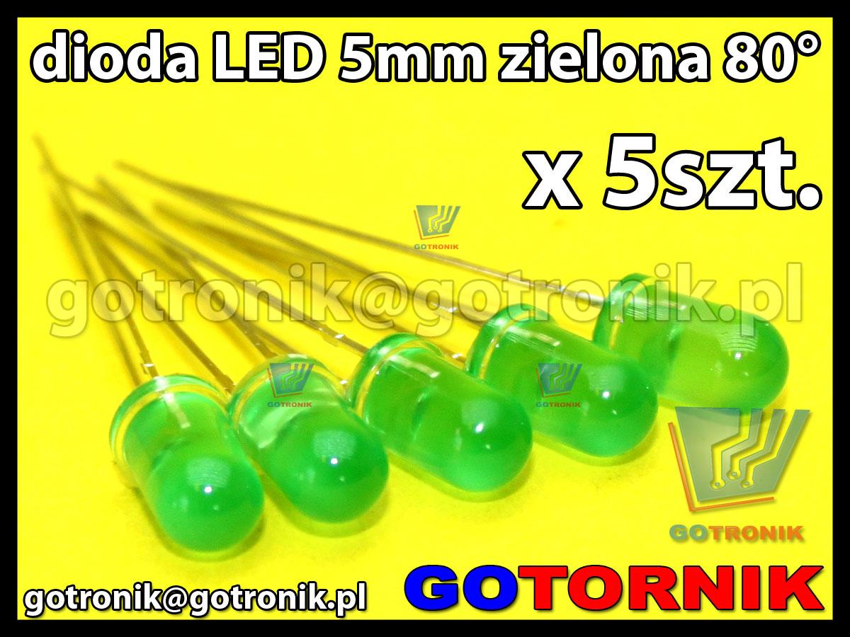 dioda LED 5mm zielona 80° x5szt.