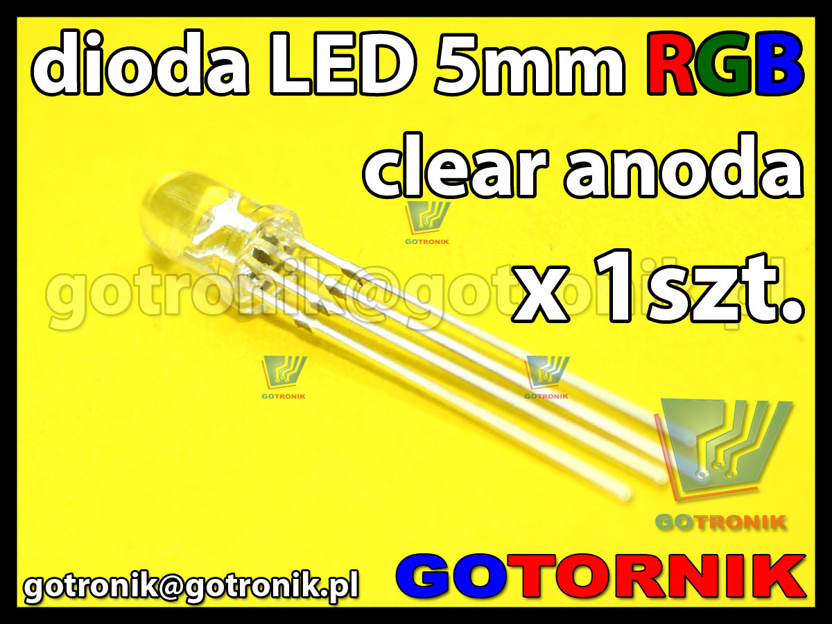 dioda LED 5mm RGB clear anoda x1szt