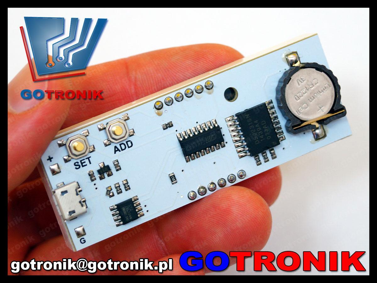 BTE-479 zegarek elektroniczny LED zielony DS3231 RTC