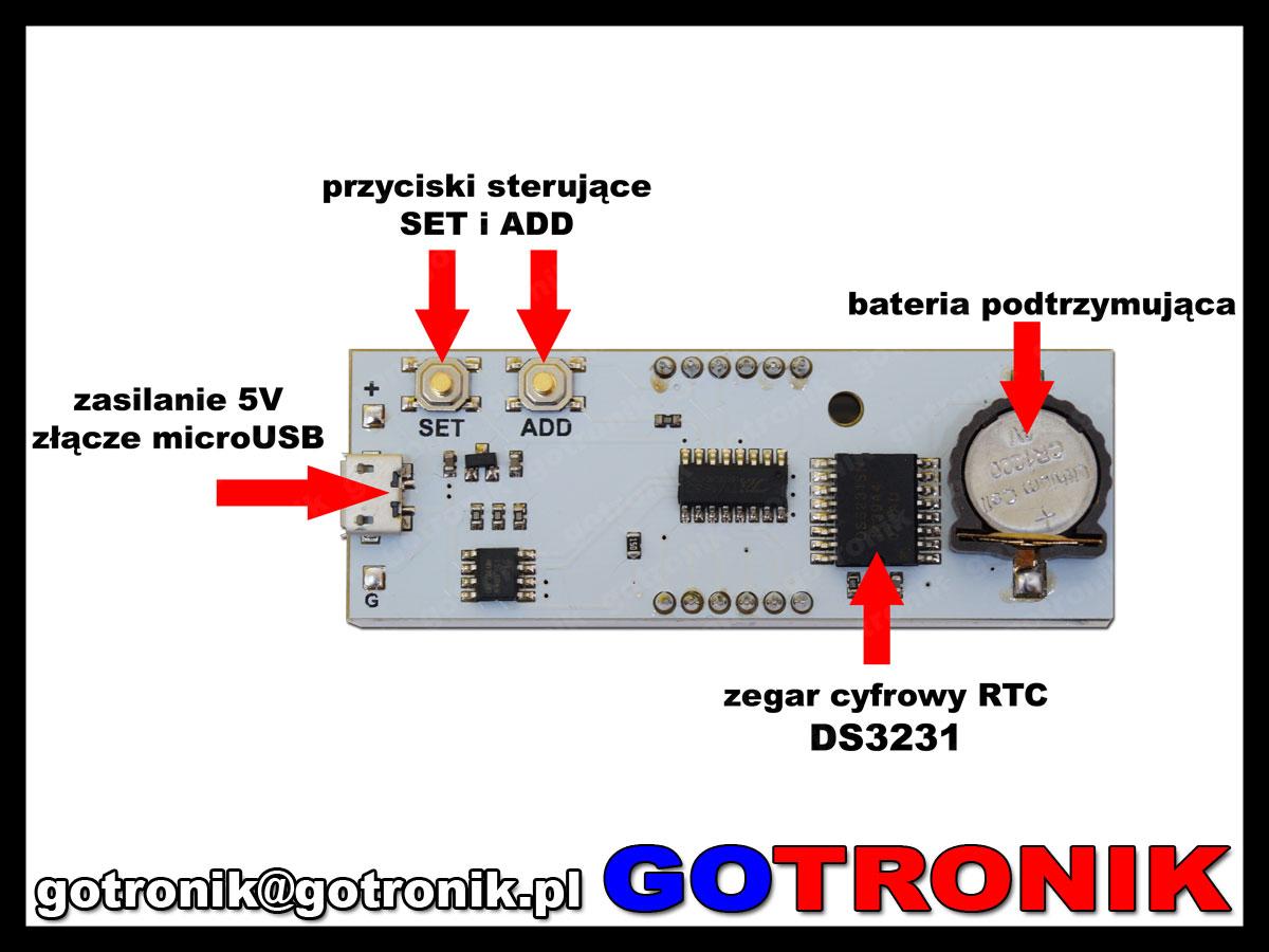 BTE-482 zegarek elektroniczny LED niebieski DS3231 RTC