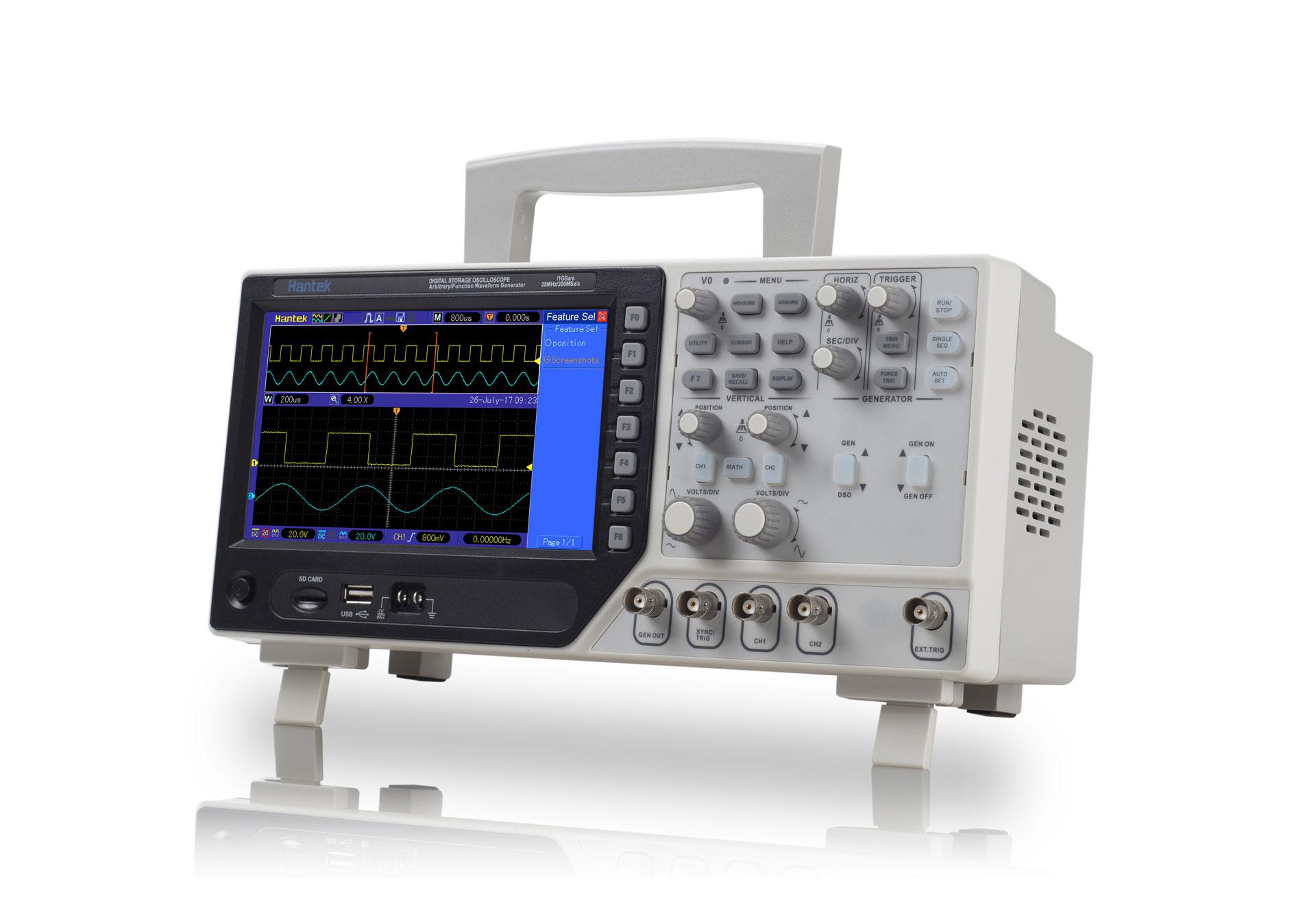 DSO4000C Hantek oscyloskop cyfrowy dwukanałowy z generatorem funkcyjnym DDS 25MHz