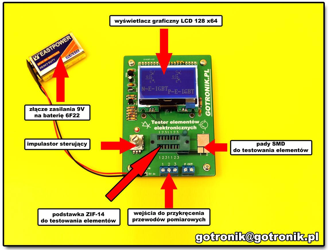 tester elementów elektronicznych RLC LCR i tranzystorów m328 atmega328