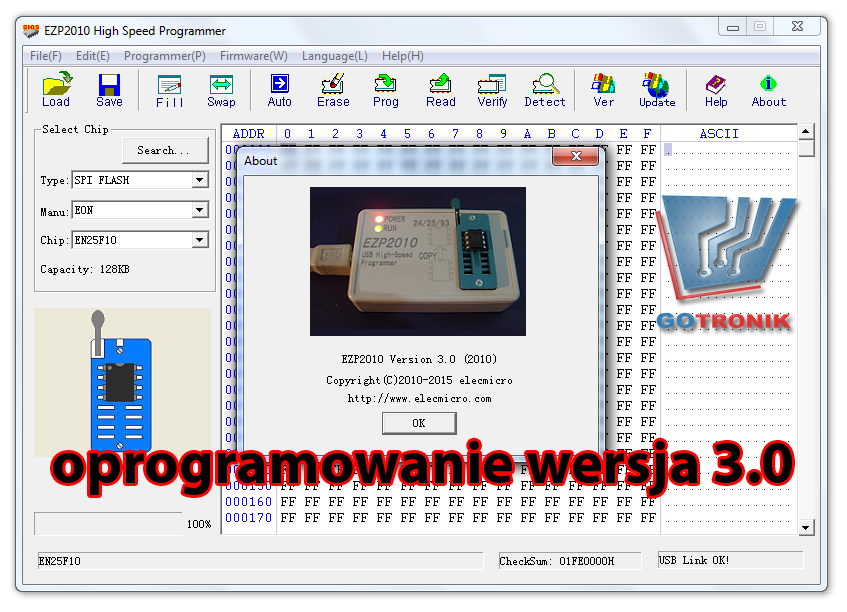EZP2010 V3.0 oprogramowanie Windows XP Vista 7 8 32bit 64bit