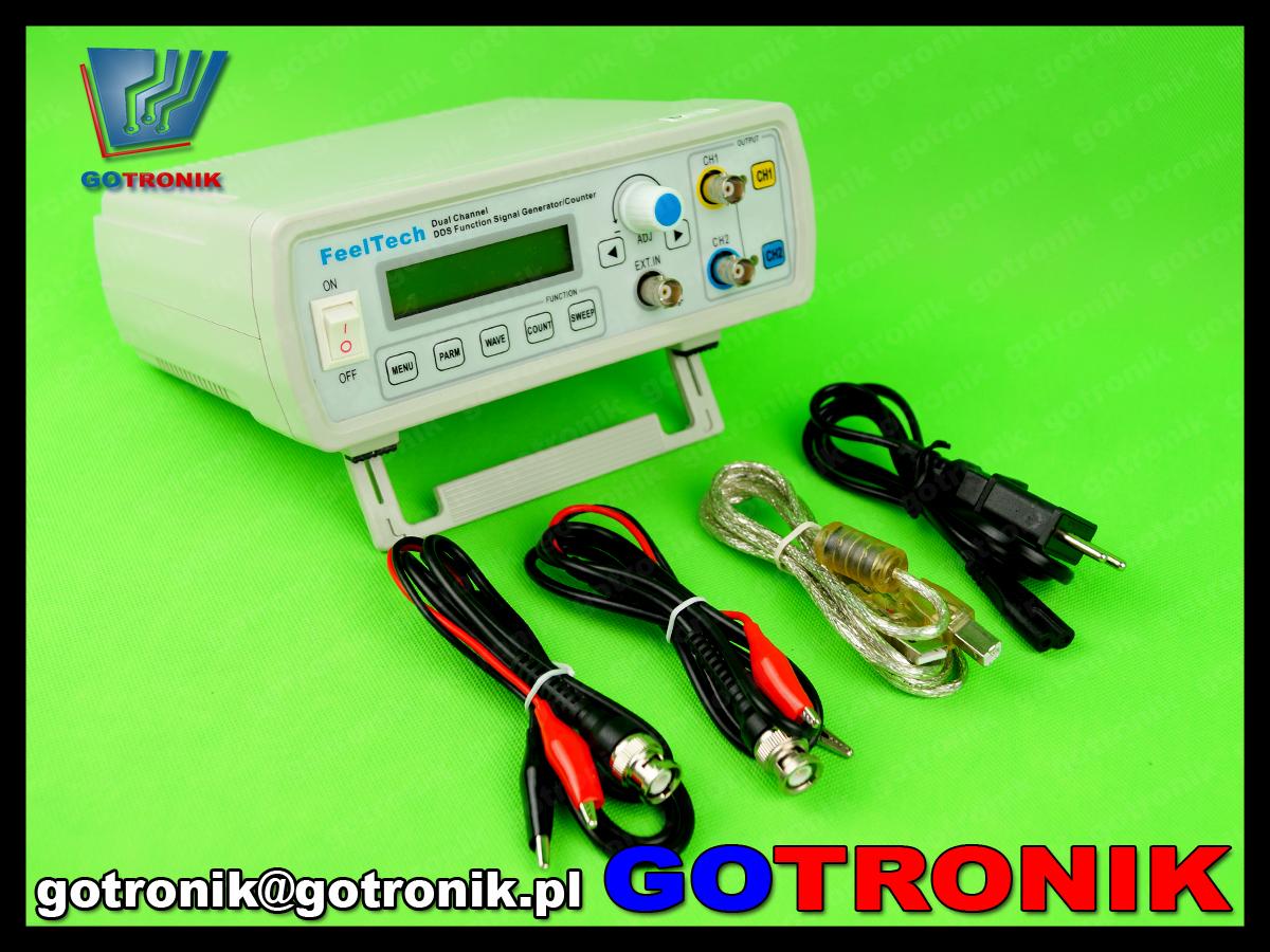 FY2210S Feeltech FY2200S generator funkcyjny arbitralny stołowy laboratoryjny DDS dwukanałowy 10MHz, miernik częstotliwości
