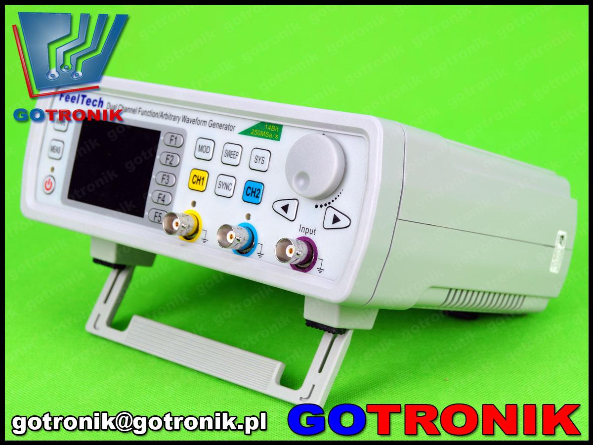 FY6600 Feeltech generator funkcyjny arbitralny stołowy laboratoryjny DDS dwukanałowy, miernik częstotliwości 100MHz