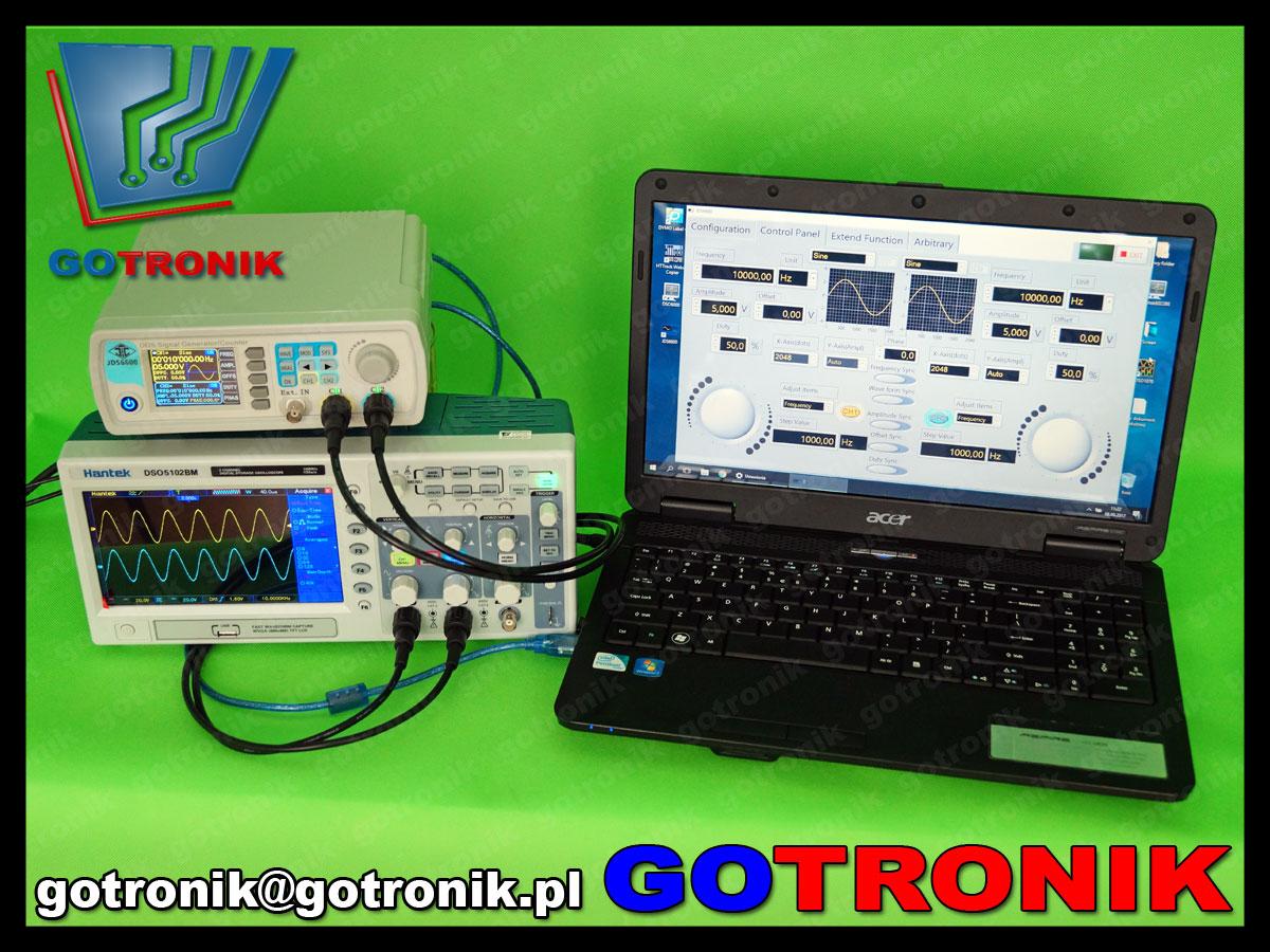 generator funkcyjny JDS660 w połączeniu z komputerem poprzez port USB