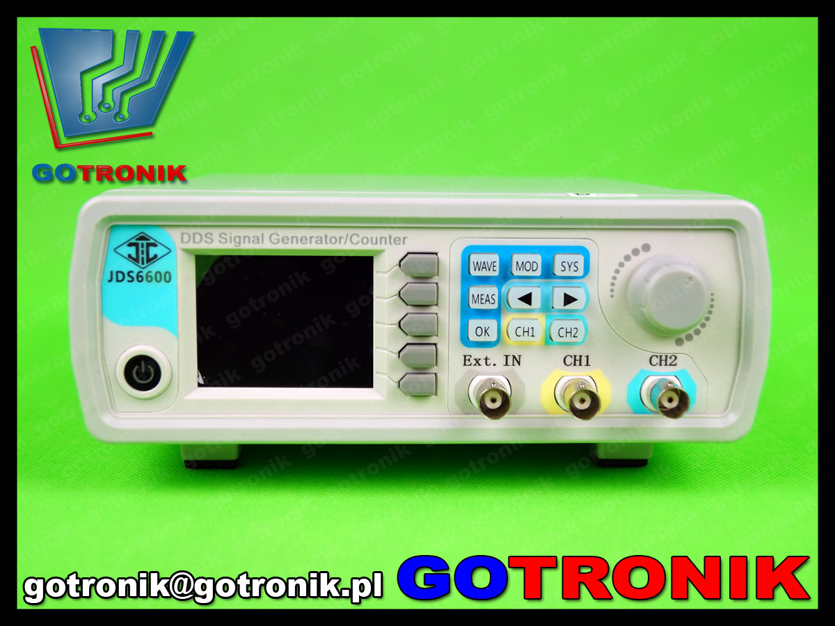 arbitralny generator funkcyjny JDS6600 - widok panelu czołowego