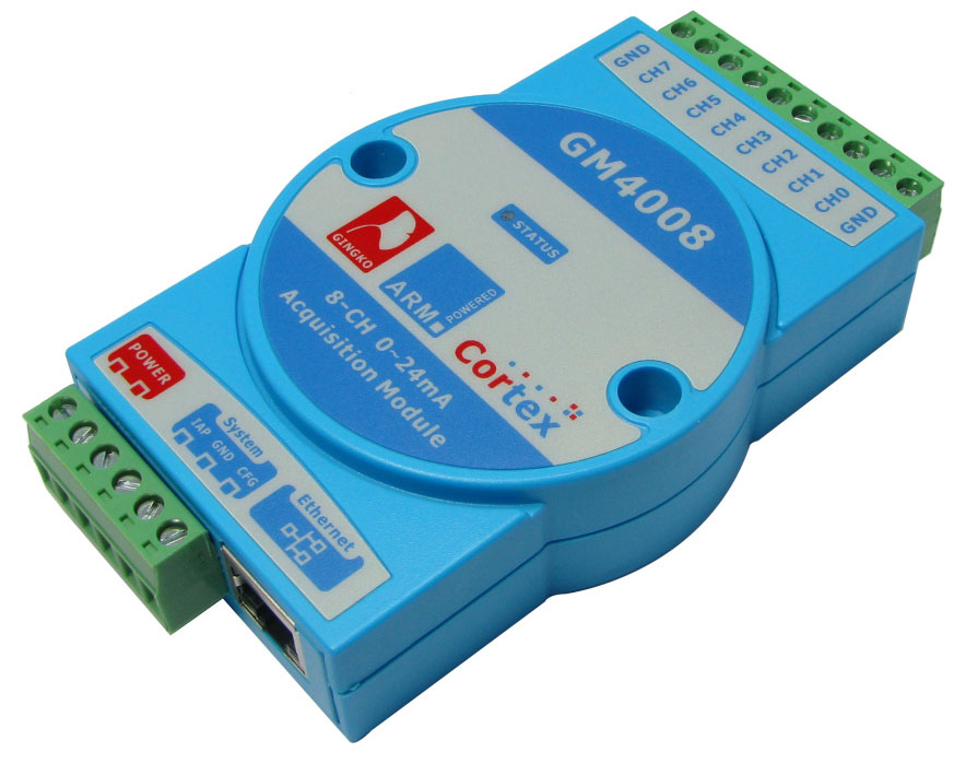GM4008 0-24ma 0-20ma 4-20mA moduł pomiarowy 8 wejść Ethernet gingko