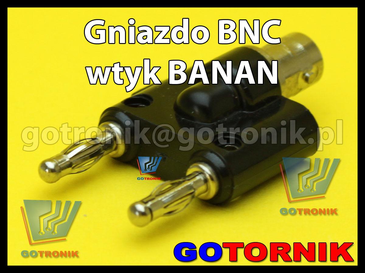Gniazdo BNC na 2x wtyk banan