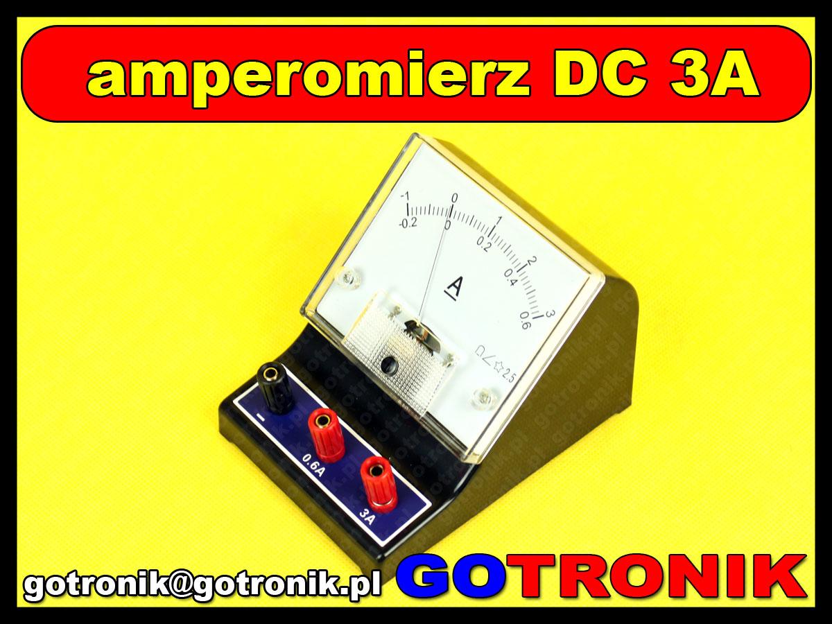 J0407 amperomierz prądu stałego szkolny DC do 3A