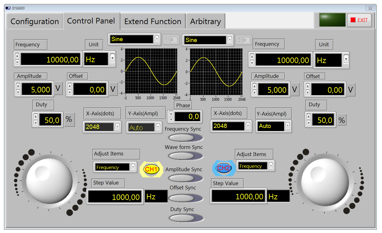 program sterujący generatora funkcyjnego JDS6600 - Control Panel