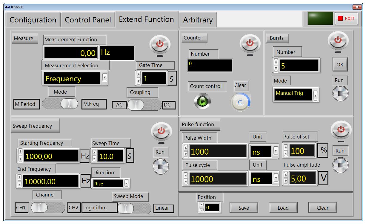program sterujący generatora funkcyjnego JDS6600 - Extend Function