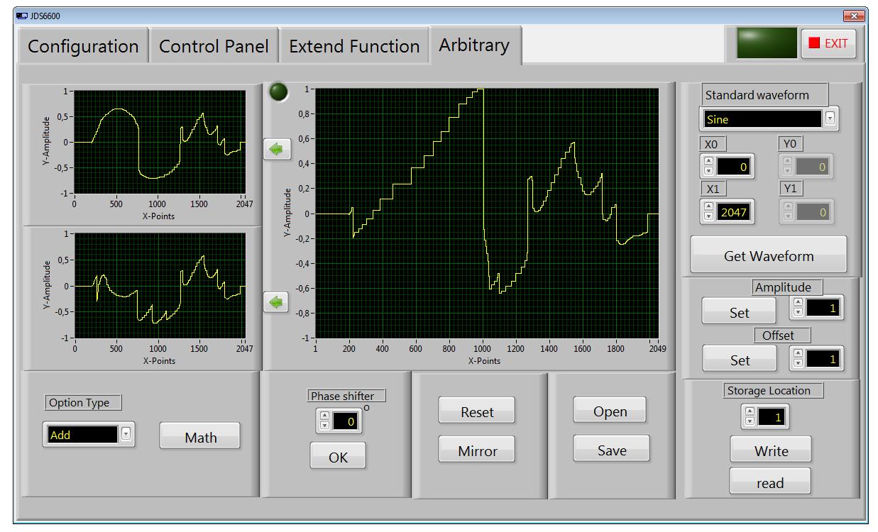 program sterujący generatora funkcyjnego JDS6600 - Arbitrary