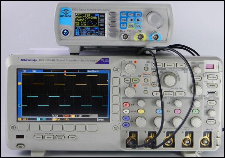 generator funkcyjny JDS6600 obserwacja przebiegów na oscyloskopie cyfrowym przebiegi prostokątne