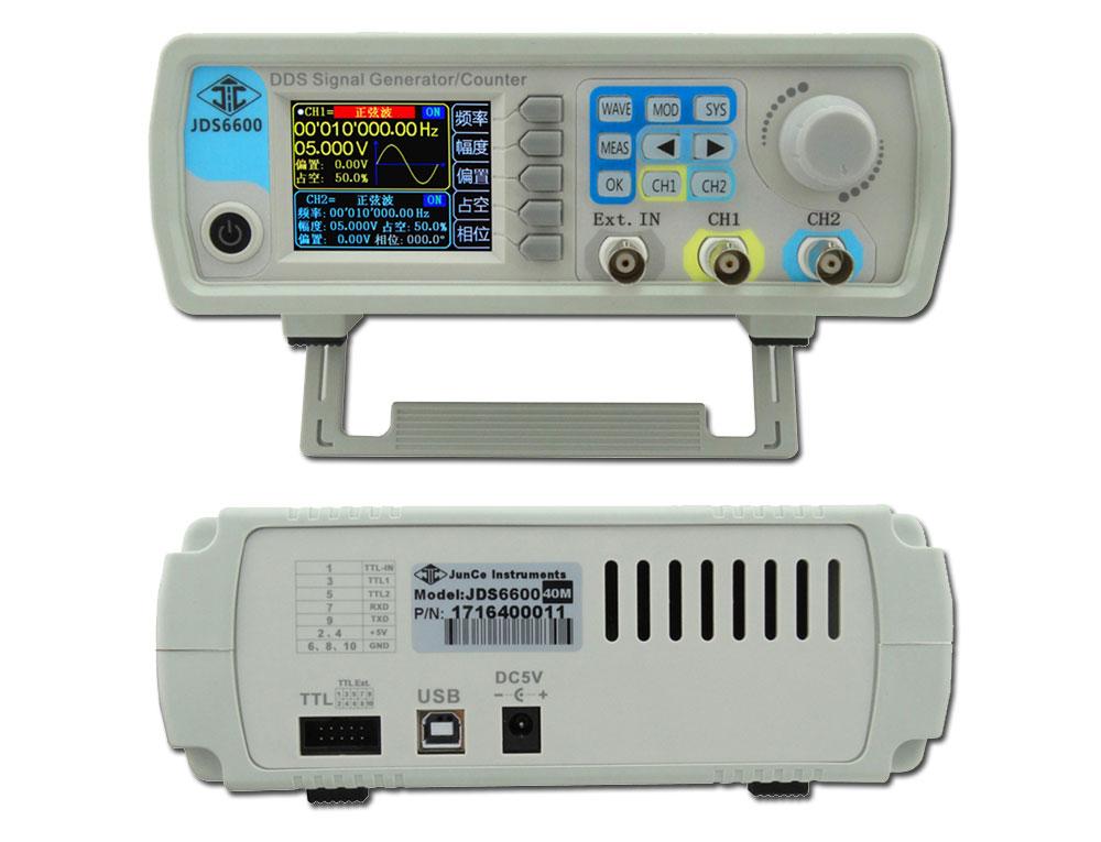 generator funkcyjny JDS6600 widok panelu czołowego i tyłu obudowy