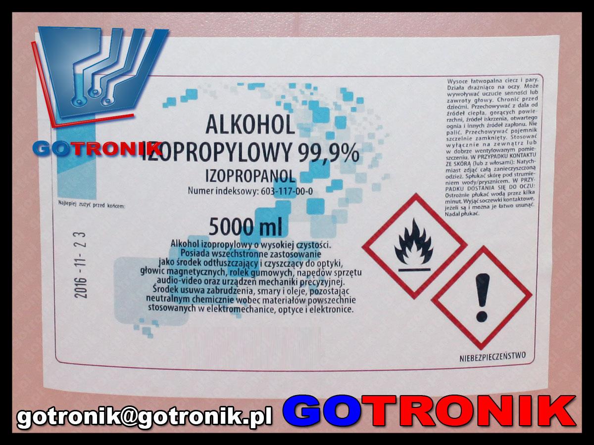 alkohol izopropylowy 99,9% 5 litrów 5000ml ipa