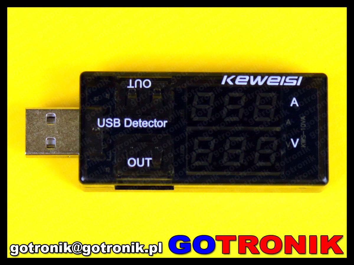 Miernik napięcia i prądu USB Keweisi KWP-10VA
