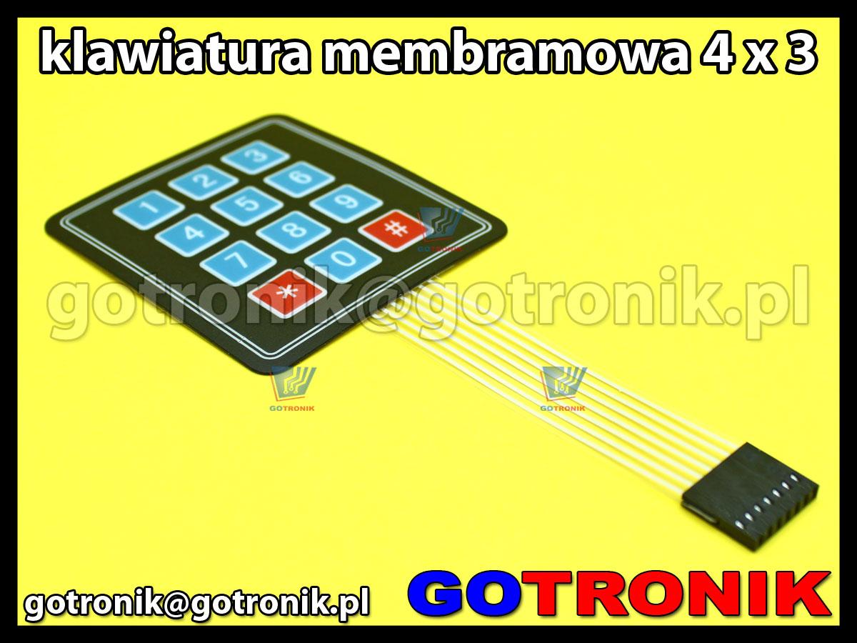 Klawiatura membranowa 4x3 12 klawiszy Matrix przycisków do zastosowań Arduino, MCU, ARM, AVR, PIC, Raspberry Pi
