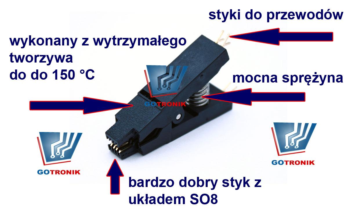 Klips SO8 do programowania w układzie GOTRONIK