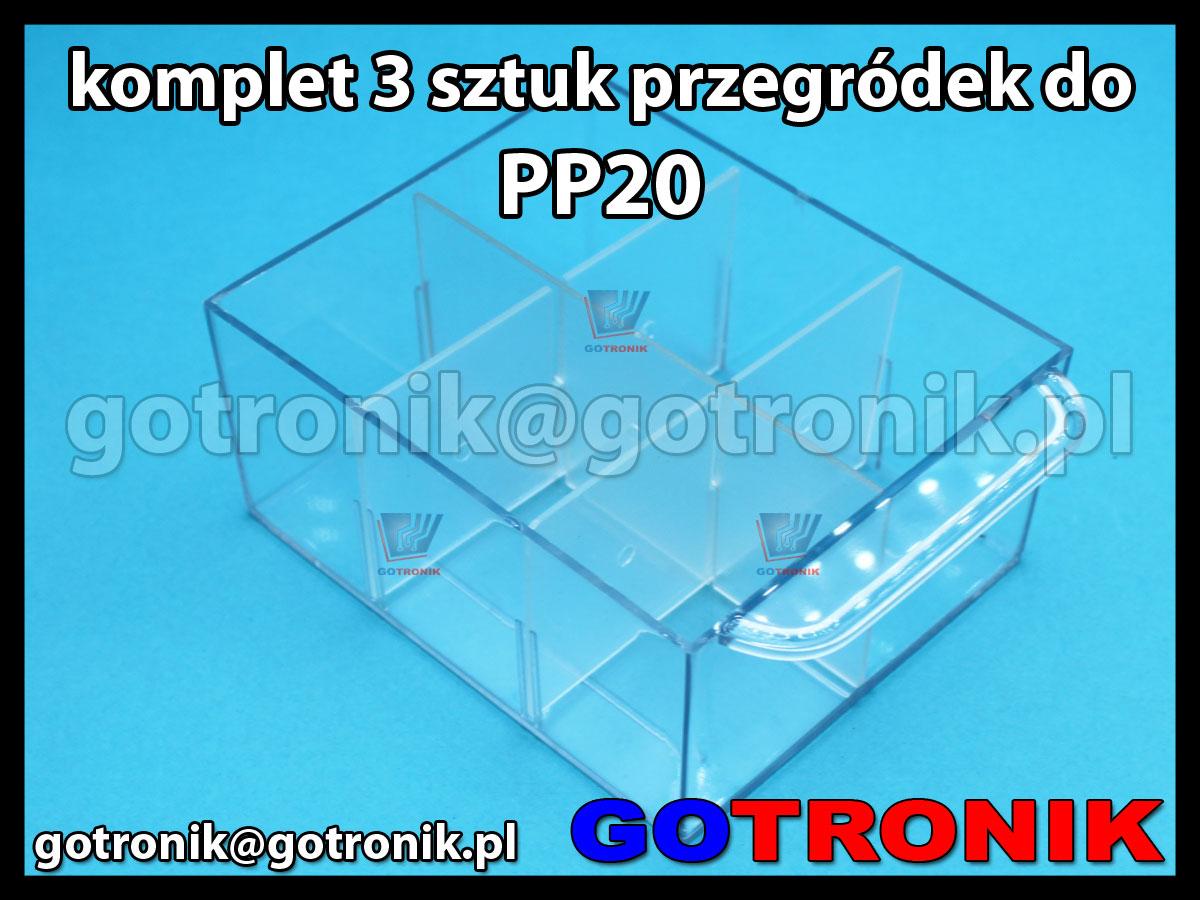Komplet 3 sztuk przegródek do szufladek PP20