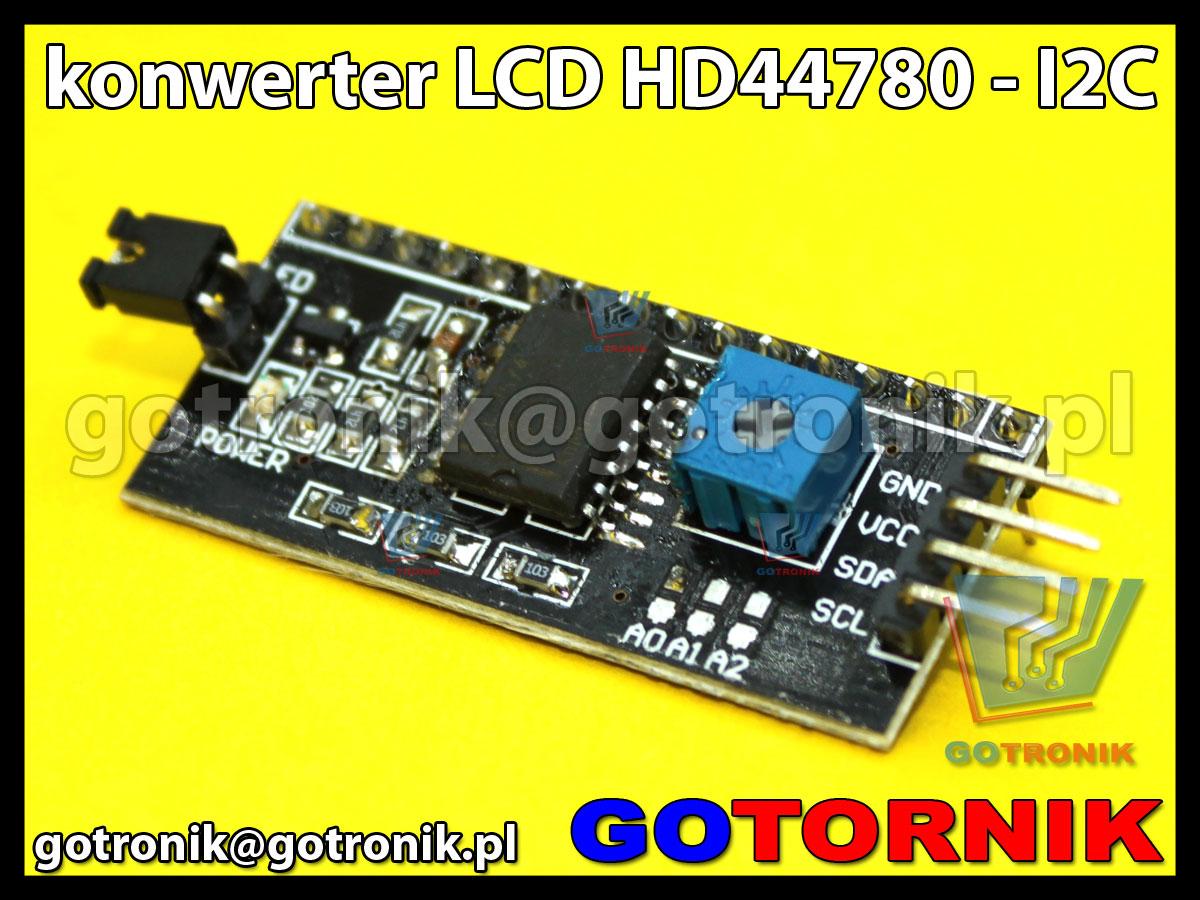 Konwerter LCD HD44780 - I2C do zastosowań w Arduino AVR ARM PIC