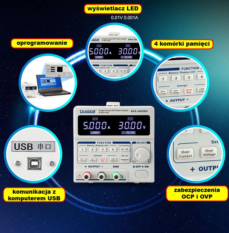 KPS-3005DU Zhaoxin zasilacz laboratoryjny programowalny USB KPS3005DU zaoxin 30V 5A