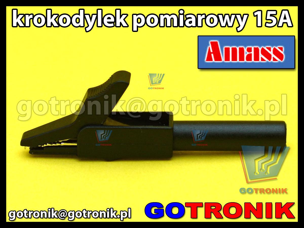 Krokodylek pomiarowy na gniazdo banan 4mm czarny Amass 27.258.2 15A 300V CatII