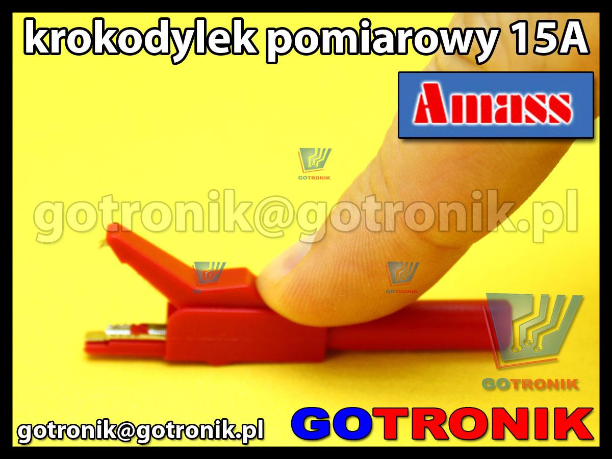 Krokodylek pomiarowy na gniazdo banan 4mm czerwony Amass 27.258.1 15A 300V CatII