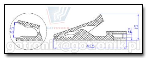 Krokodylek pomiarowy 2mm rysunek techniczny