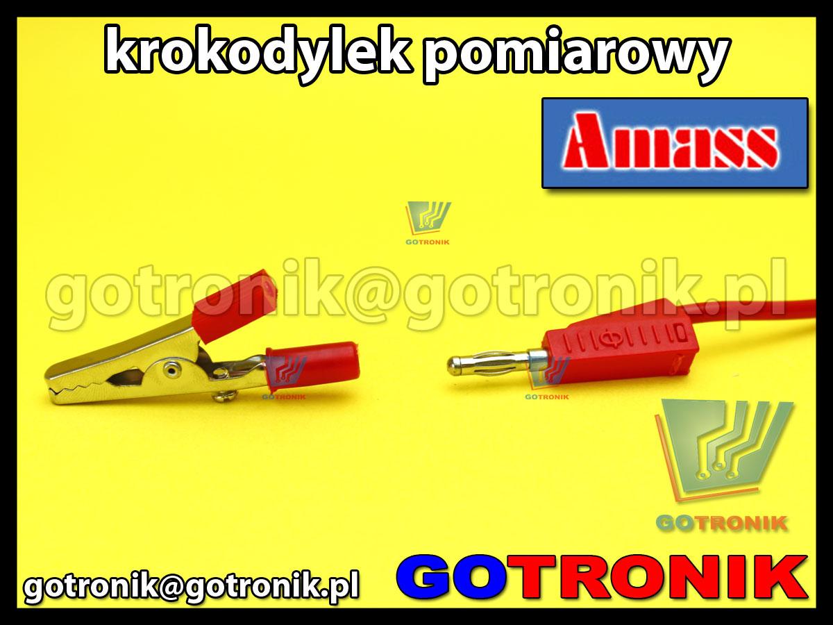 Krokodylek pomiarowy na gniazdo banan 4mm czerwony Amass 27.719.1