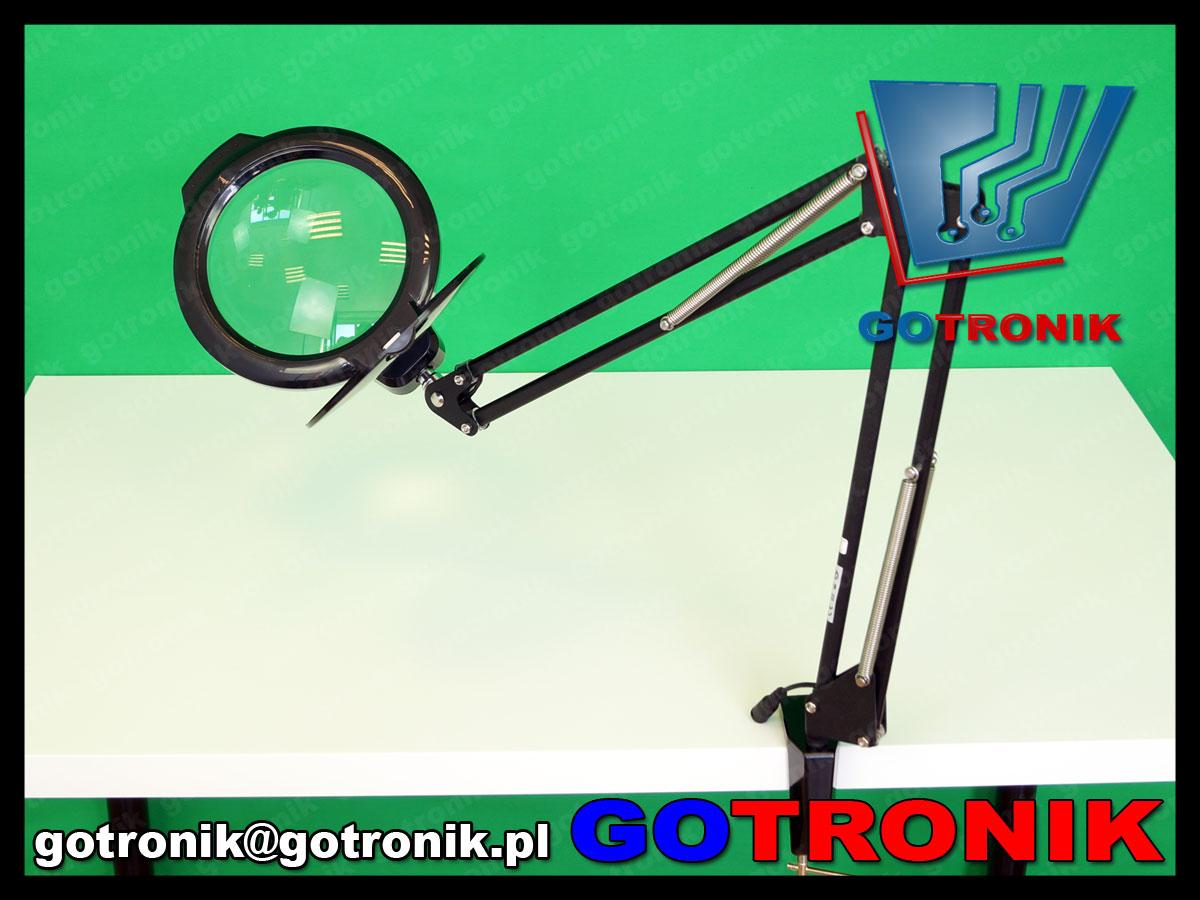 lampa z lupą powiększająca soczewka 5dioptrii lampa led x36 8w warsztatowa kosmetyczna czarna LAM-025